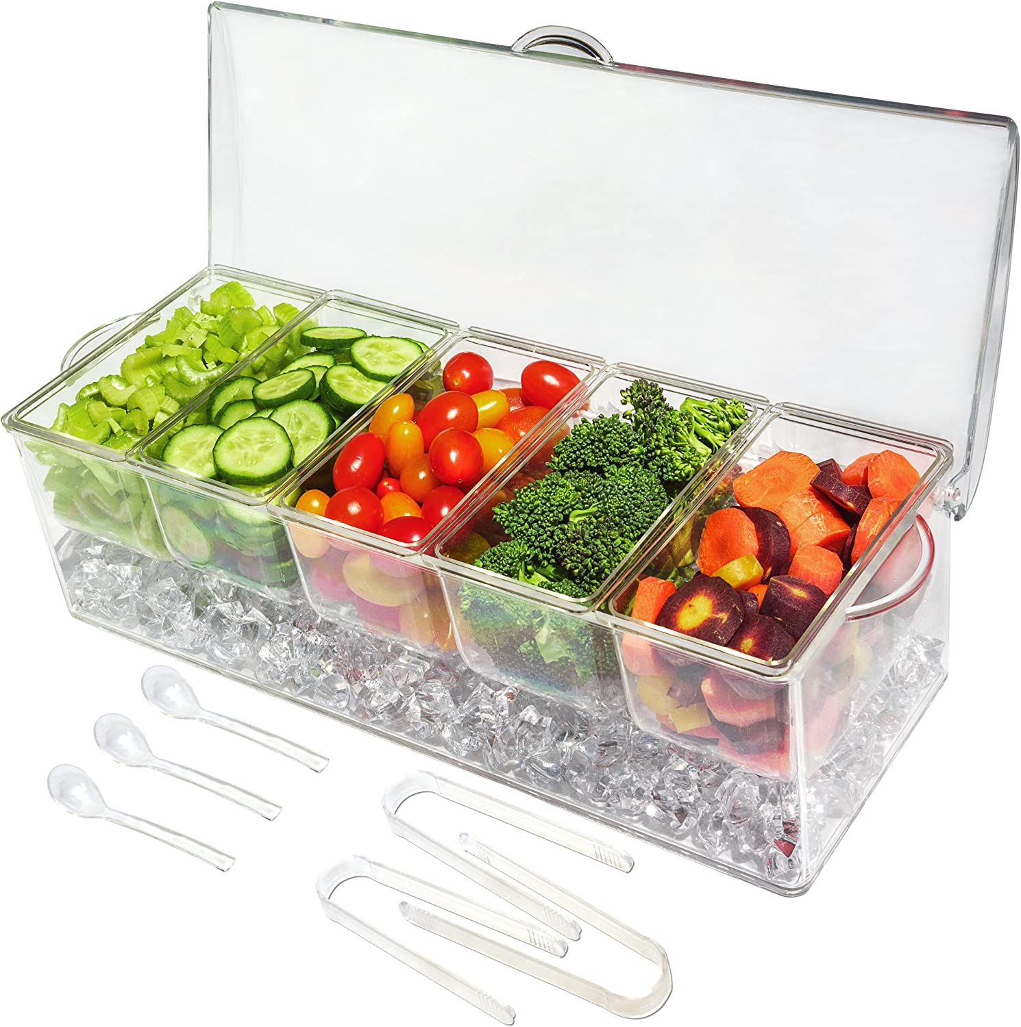Ice Chilled 5 Compartment Condiment Server Caddy - Serving Tray Container with 5 Removable Dishes with over 2 Cup Capacity Each and Hinged Lid | 3 Serving Spoons + 3 Tongs Included