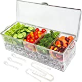Elegant Events Ice Chilled 5 Compartment Condiment Server Caddy - Serving Tray Container with 5 Removable Dishes with Over 2