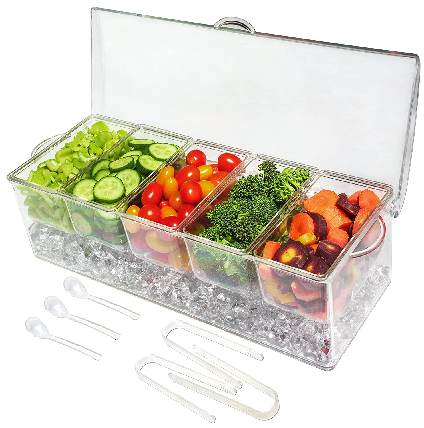 Ice Chilled 5 Compartment Condiment Server Caddy - Serving Tray Container with 5 Removable Dishes with over 2 Cup Capacity Each and Hinged Lid | 3 Serving Spoons + 3 Tongs Included Elegant Events