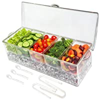 Elegant Events Ice Chilled 5 Compartment Condiment Server Caddy - Serving Tray Container...