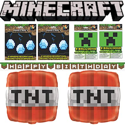 MINECRAFT BIRTHDAY PARTY SUPPLIES MEGA DECORATIONS PACK