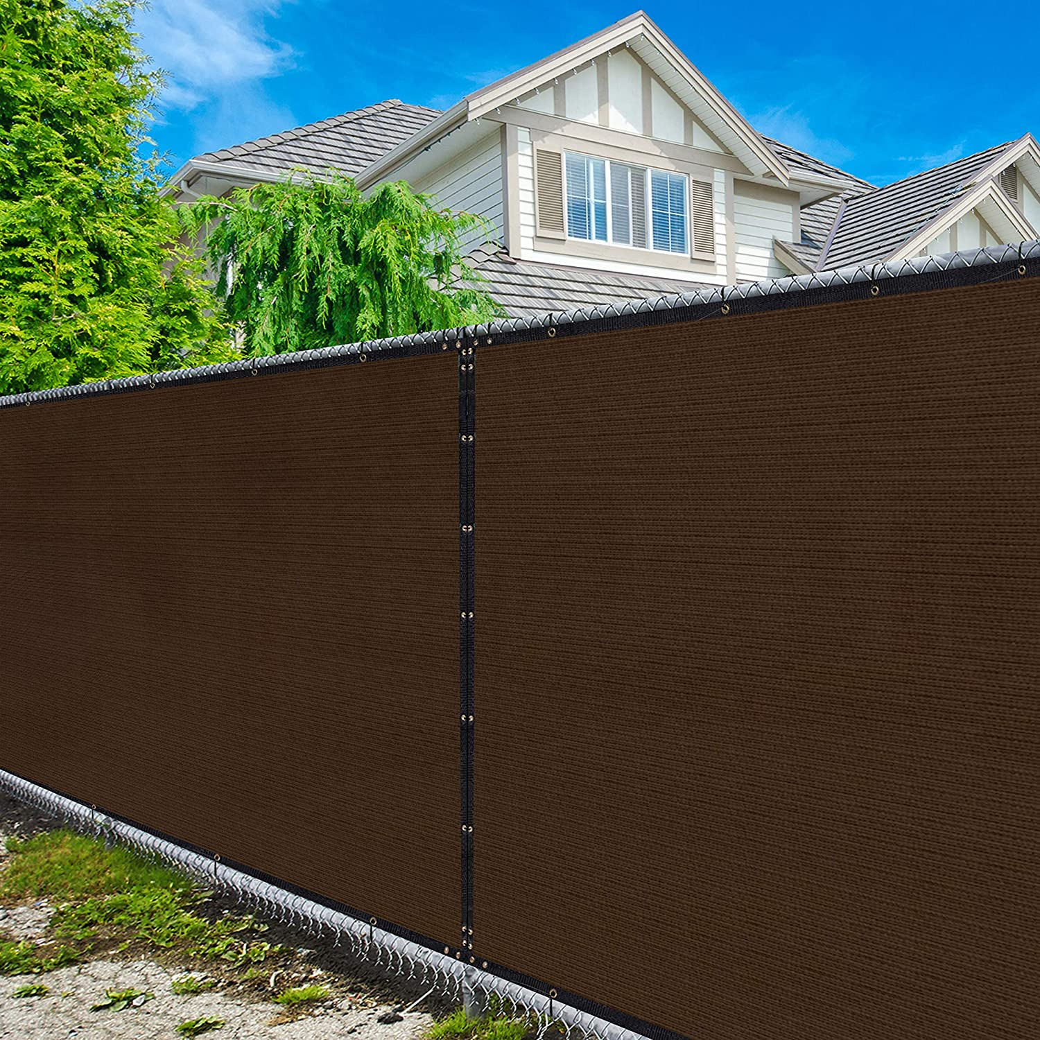 Amgo 4' x 50' Brown Fence Privacy Screen Windscreen,with Bindings & Grommets, Heavy Duty for Commercial and Residential, 90% Blockage, Cable Zip Ties Included, (Available for Custom Sizes)