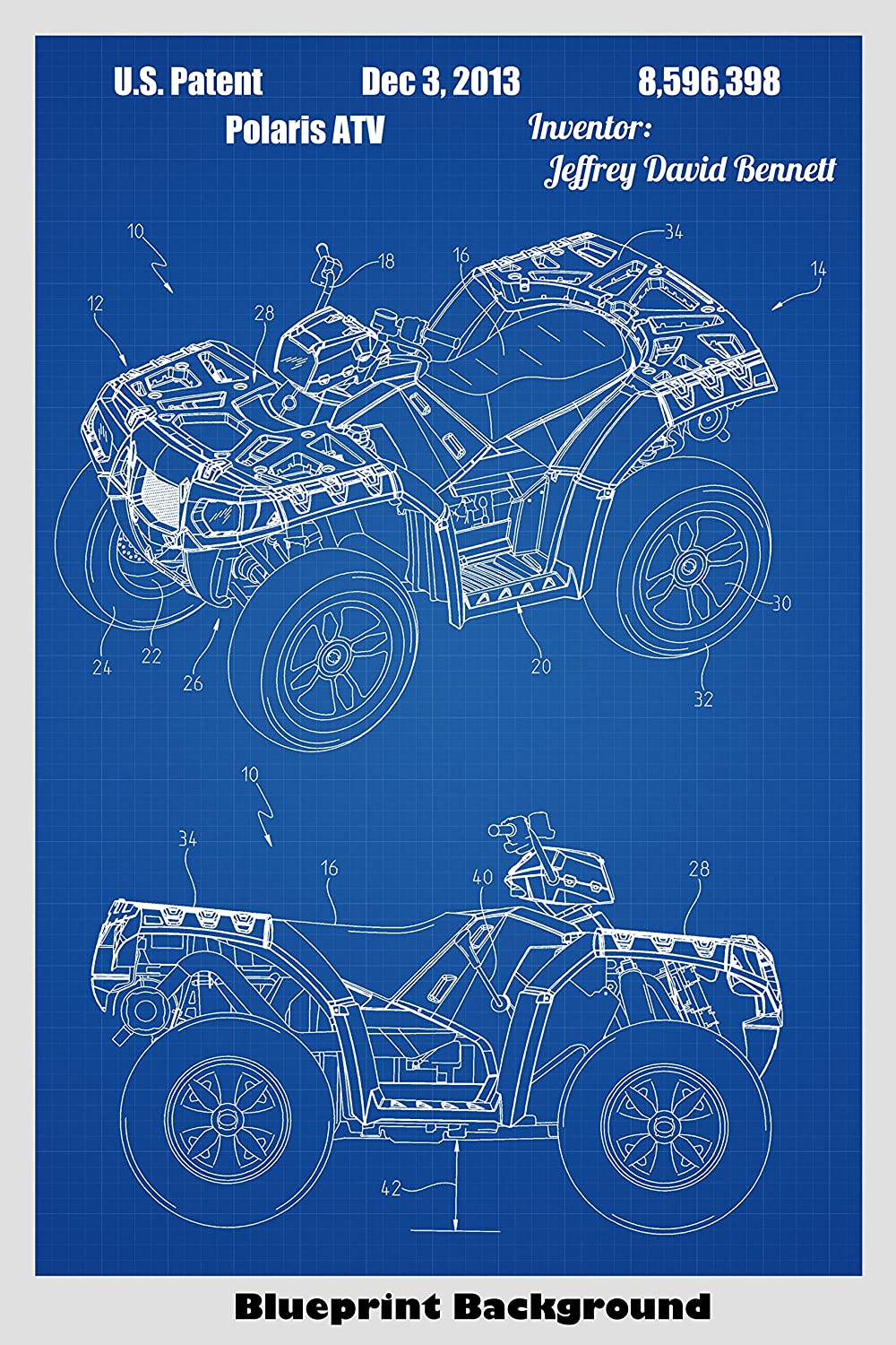 Amazon polaris four wheeler all terrain vehicle atv patent amazon polaris four wheeler all terrain vehicle atv patent print art poster choose from multiple size and background color options handmade malvernweather Gallery
