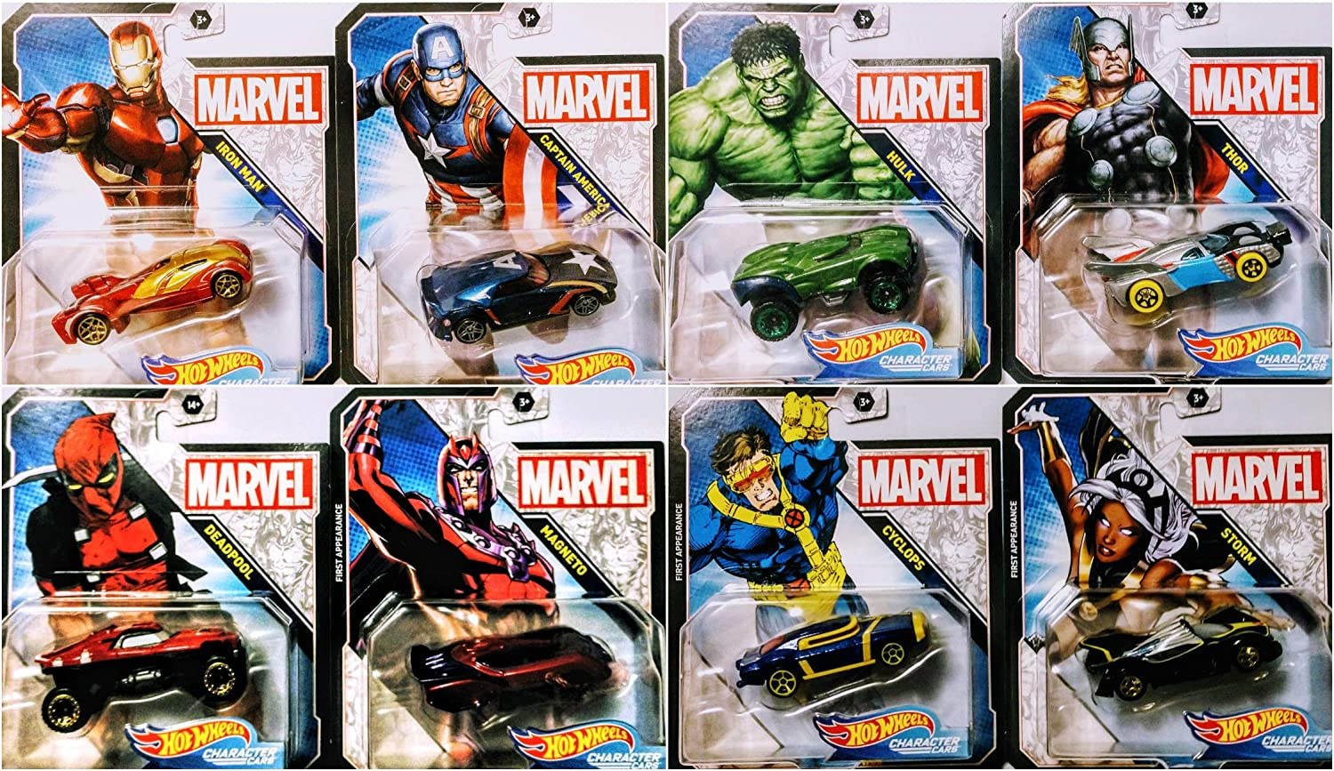 Hot Wheels 2020 Character Cars Complete Set of 8 Includes Iron Man Thor Hulk Captain America Deadpool Storm Magneto Cyclops