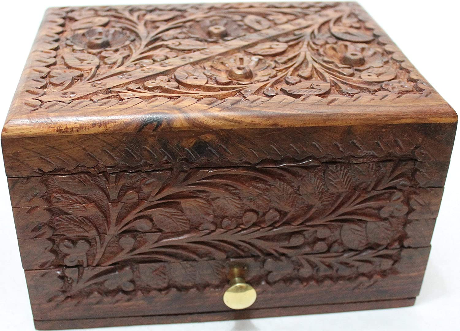 Unique Precious Stone Wooden Thanksgiving Holiday Gift Hers Jewelry Box with Secret Lock and Drawer Hand Carving Floral Designs 8x6