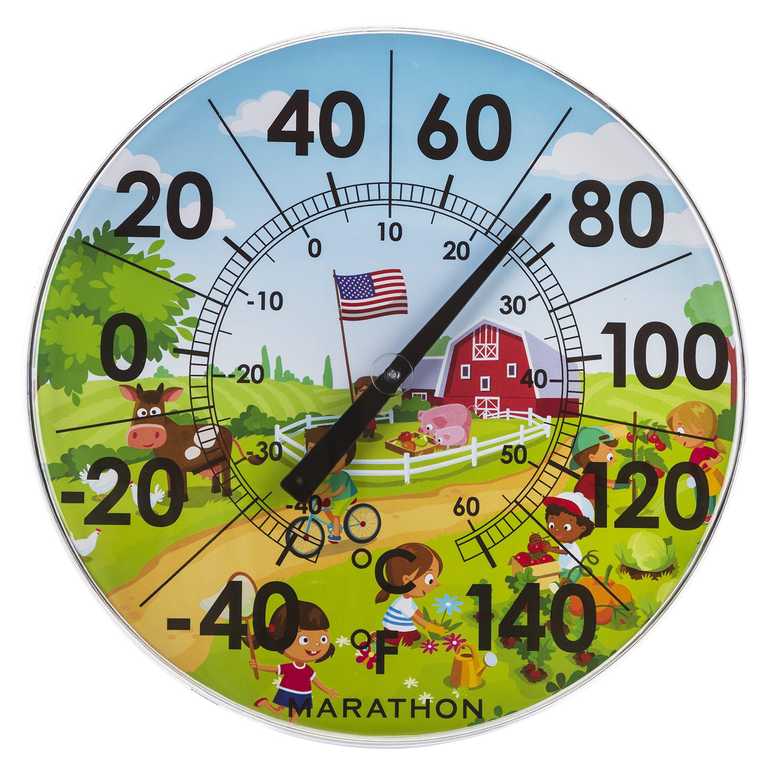 Marathon Housewares BA030002US 12'' Indoor/Outdoor Dial Thermometer- Barn Scene