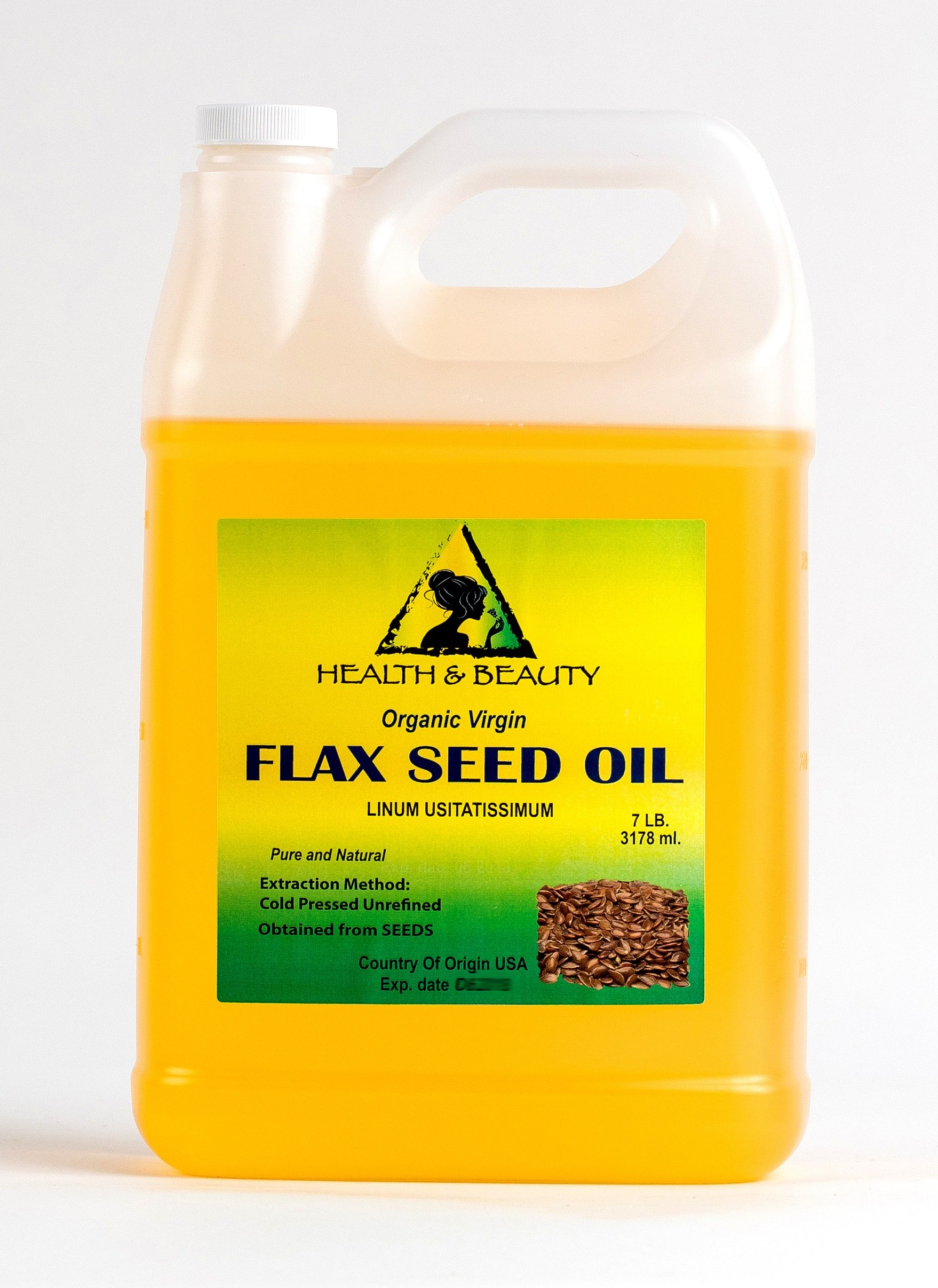 Flax Seed Oil Organic Unrefined Raw Virgin Cold Pressed Premium Quality Natural Pure 128 oz, 7 LB, 1 gal