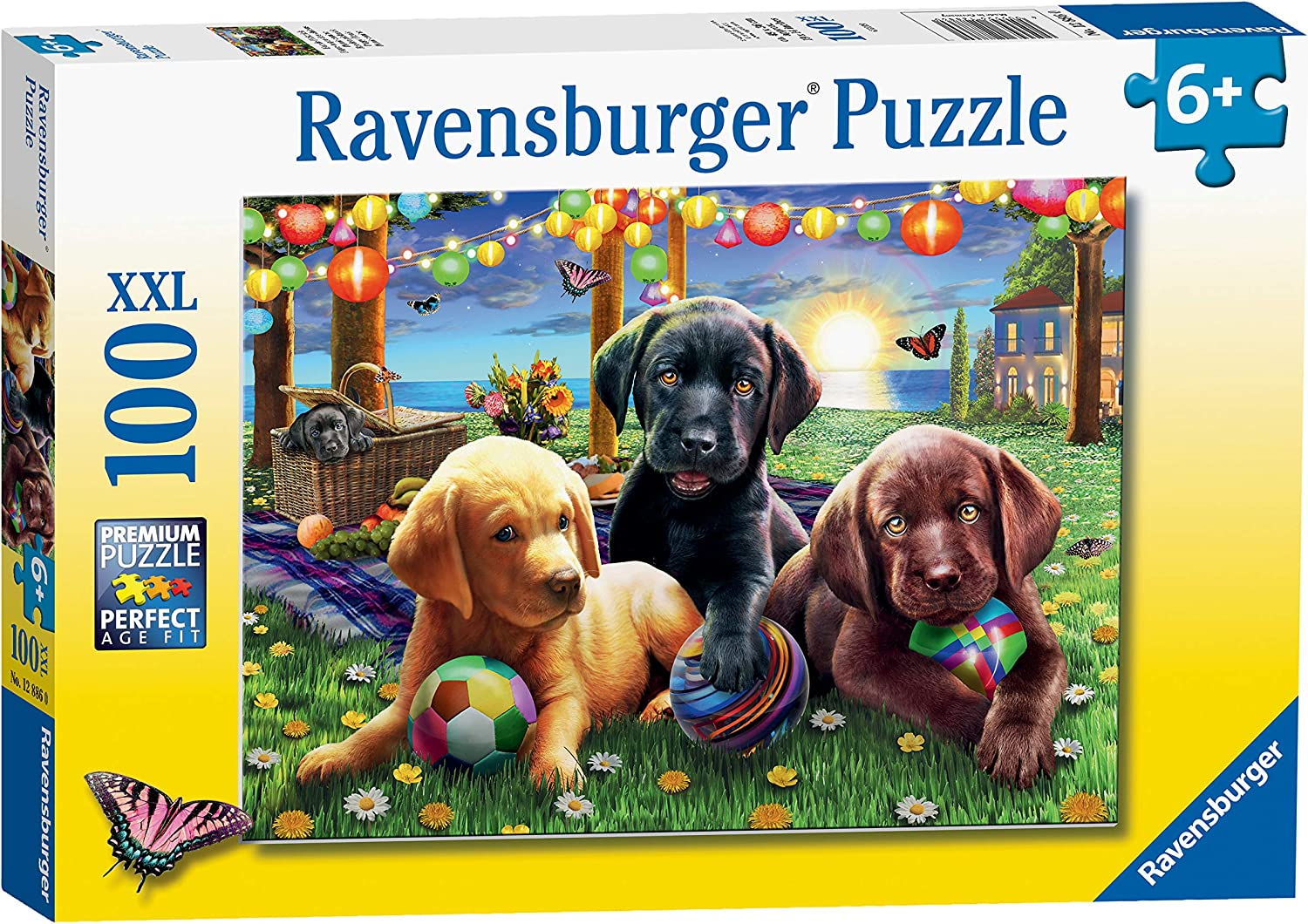 Ravensburger 12886 Puppy Picnic 100 Piece Puzzle for Kids - Every Piece is Unique, Pieces Fit Together Perfectly