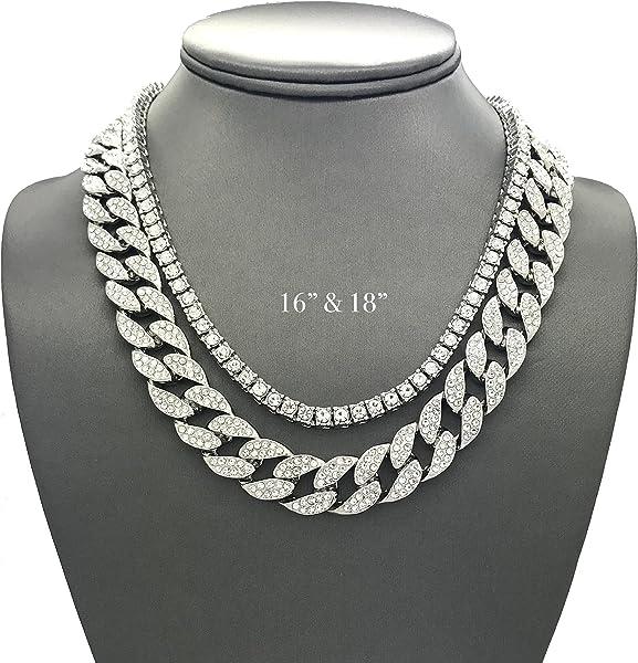 Shiny Jewelers USA Mens Iced Out Hip Hop Silver tone CZ Miami Cuban Link  Chain Choker 7e3d4aa95bca