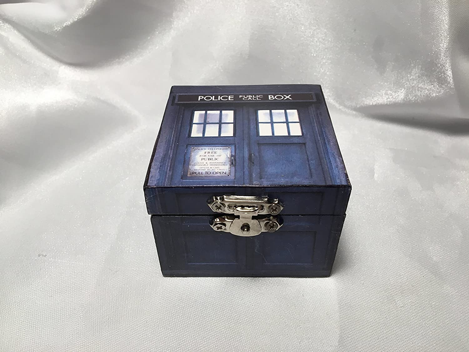Tardis Doctor Who TIme Lord Inspired Proposal Engagement Ring Box Bearer Pillow Box Customizable