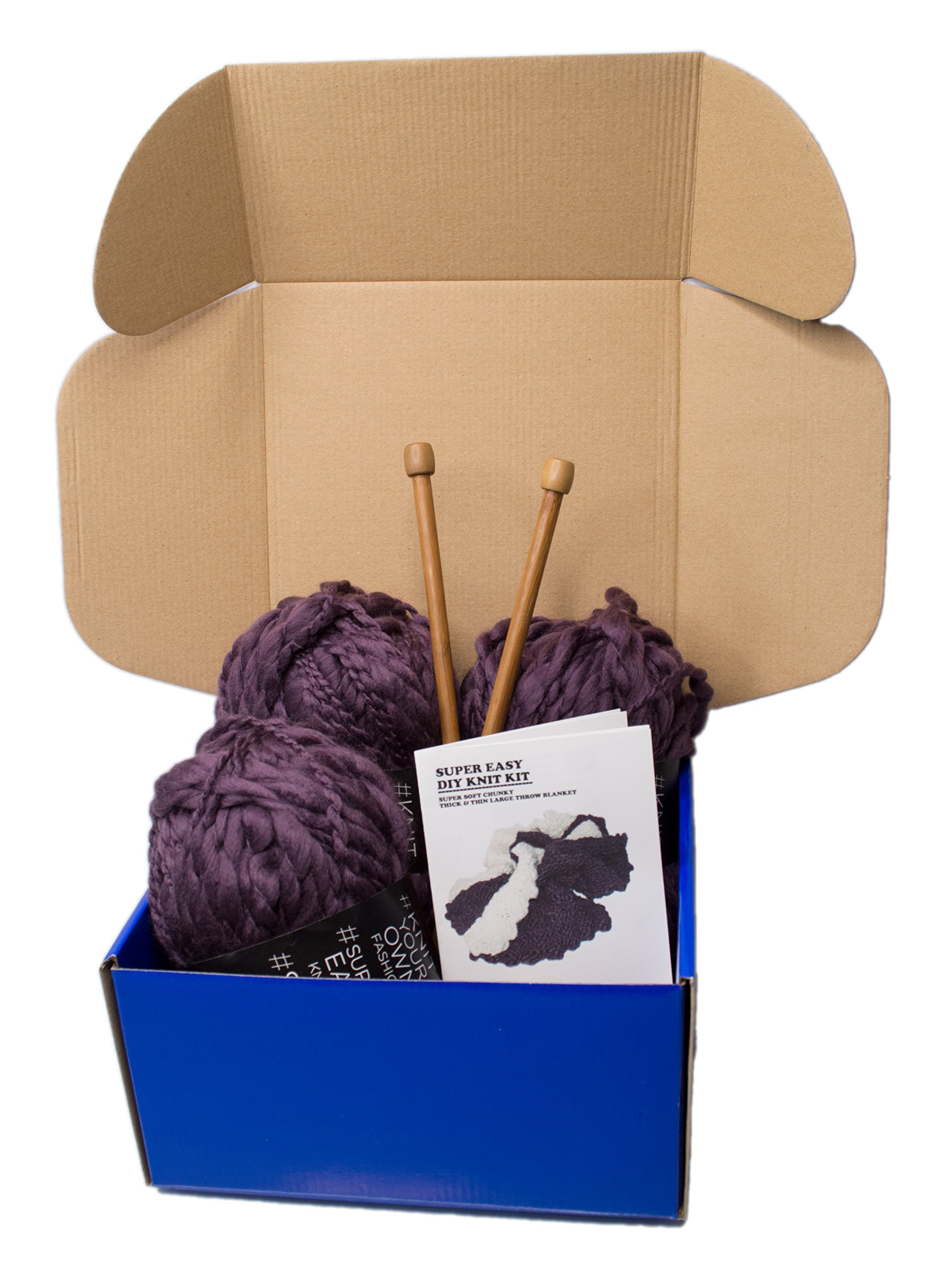 Large DIY Knitting Blanket Kit Soft Chunky Thick and Thin Bulky Yarn US 15 Needles (Dark Purple) by Rising Phoenix Industries (Image #2)