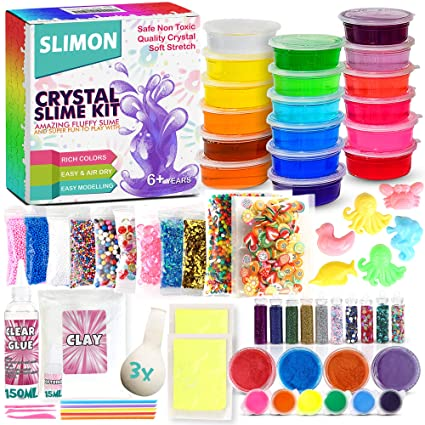 DIY Slime Kit for Girls Boys - Ultimate Glow in the Dark Glitter Slime  Making Kit-18 Slime Containers, Foam Balls, Water Beads,Clear Glue,White