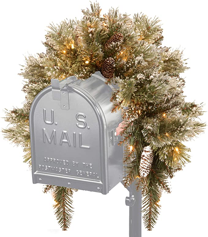 GLM1-300-3M-B1 National Tree 3 Foot Glittery Mountain Spruce Mailbox Swag with White Tipped Cones Red Berries and 35 Battery Operated Warm White LED Lights with Timer