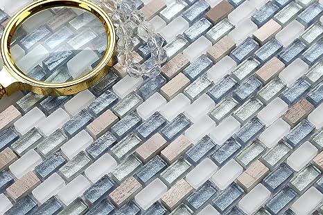 10 x 10 cm muster. tessere per mosaico in vetro bianco blu e