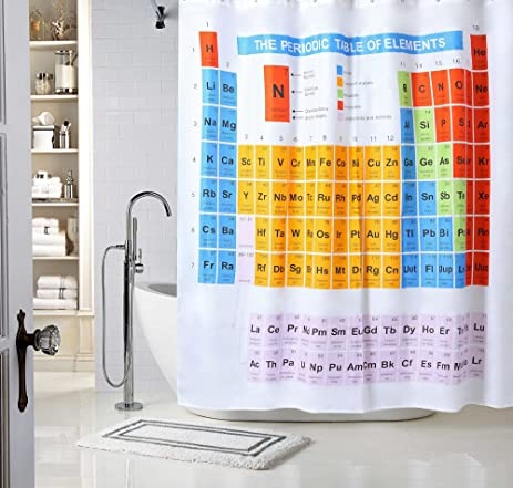 Periodic Table Of Elements Chemistry Student Bathroom Shower Curtains Waterproof Mildew Resistant Polyester Fabric