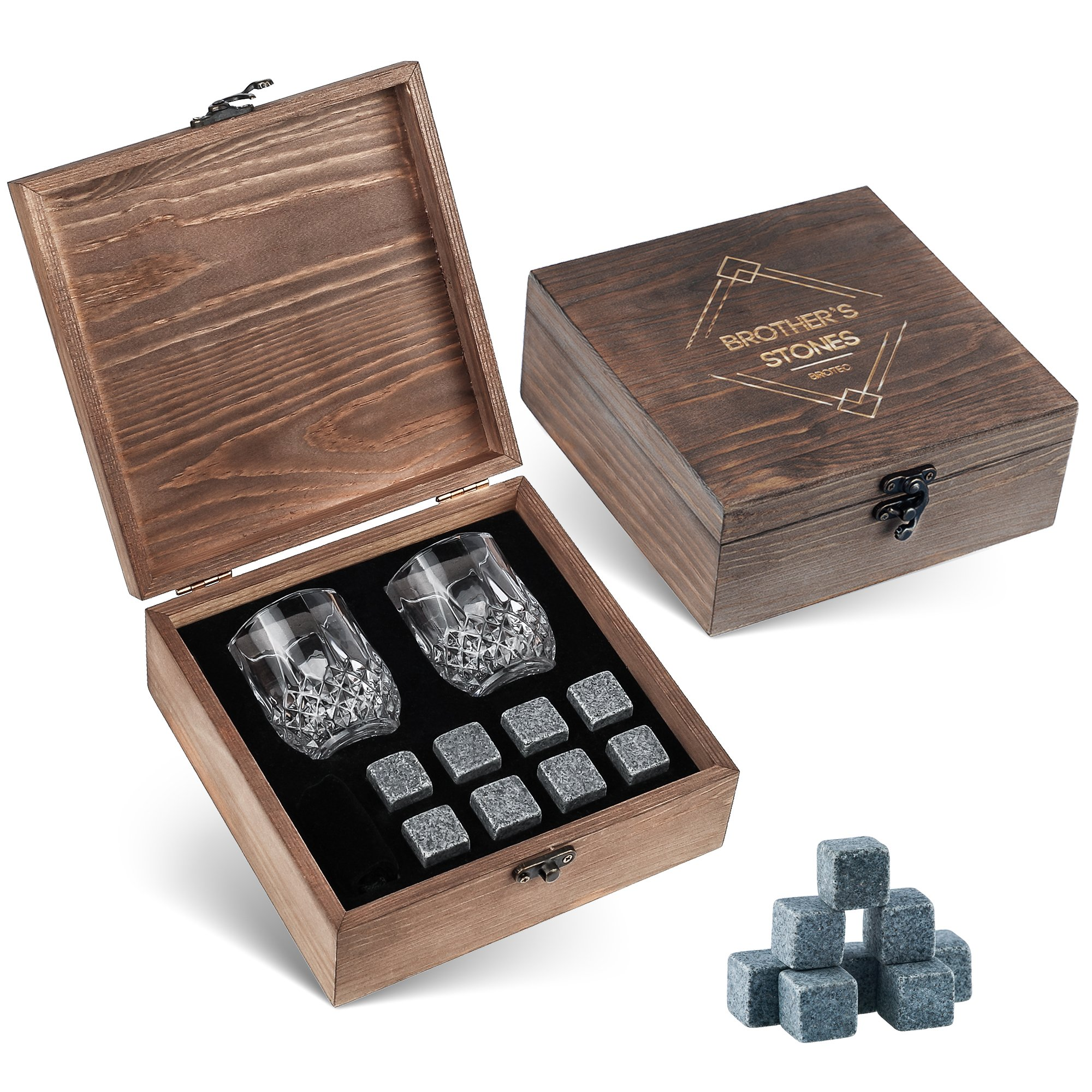 Whiskey Stones Gift Set - 8 Granite Chilling Whisky Rocks - 2 Crystal Shot Glasses in Wooden Box - Premium Bar Accessories for the Best Tasting Beverages by BROTEC by BROTEC