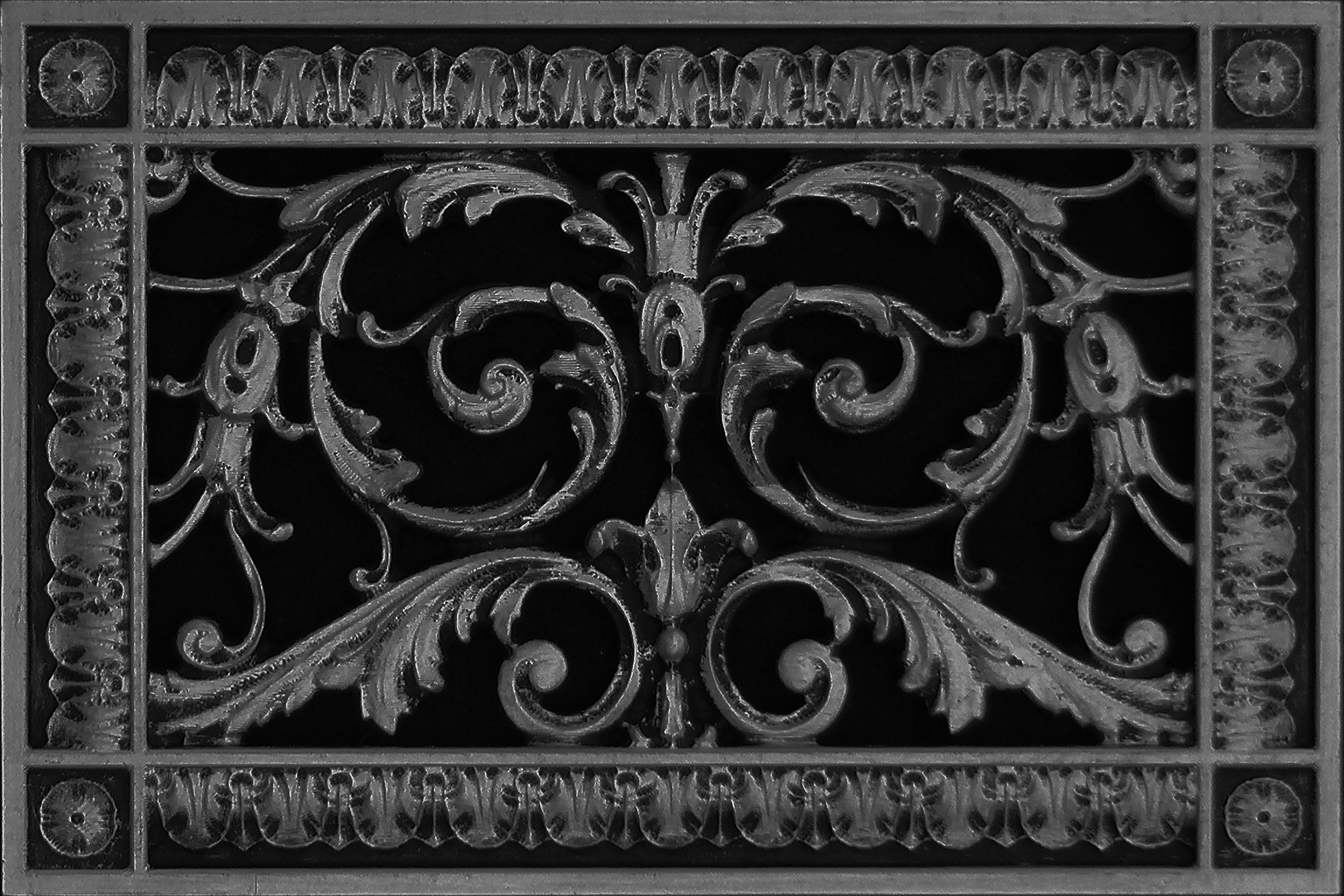 "Decorative Vent Cover, Grille, Return Register, Made of Urethane Resin, in French Style fits Over a 6""x 10"" Duct Opening. Total Size, 8"" x 12"", for Walls & Ceilings only(not Floors) (Black)"