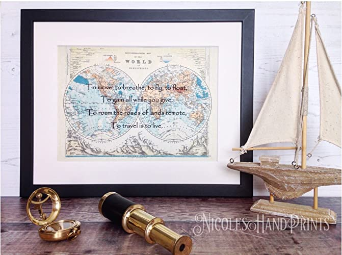 To travel is to live old world map poster beautiful quotes wall to travel is to live old world map poster beautiful quotes wall art gumiabroncs Gallery