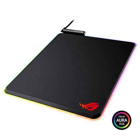 ASUS ROG Balteus Vertical Gaming Mouse Pad with Hard Micro-Textured Gaming Surface, USB Pass-Through, Aura Sync RGB Lighting and Non-Slip Base 12.6 X 14.6