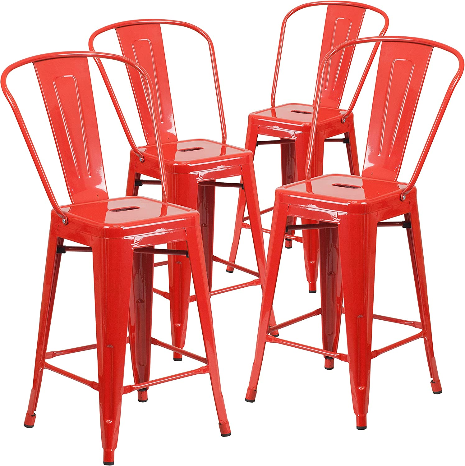 """Flash Furniture Commercial Grade 4 Pack 24"""" High Red Metal Indoor-Outdoor Counter Height Stool with Removable Back"""