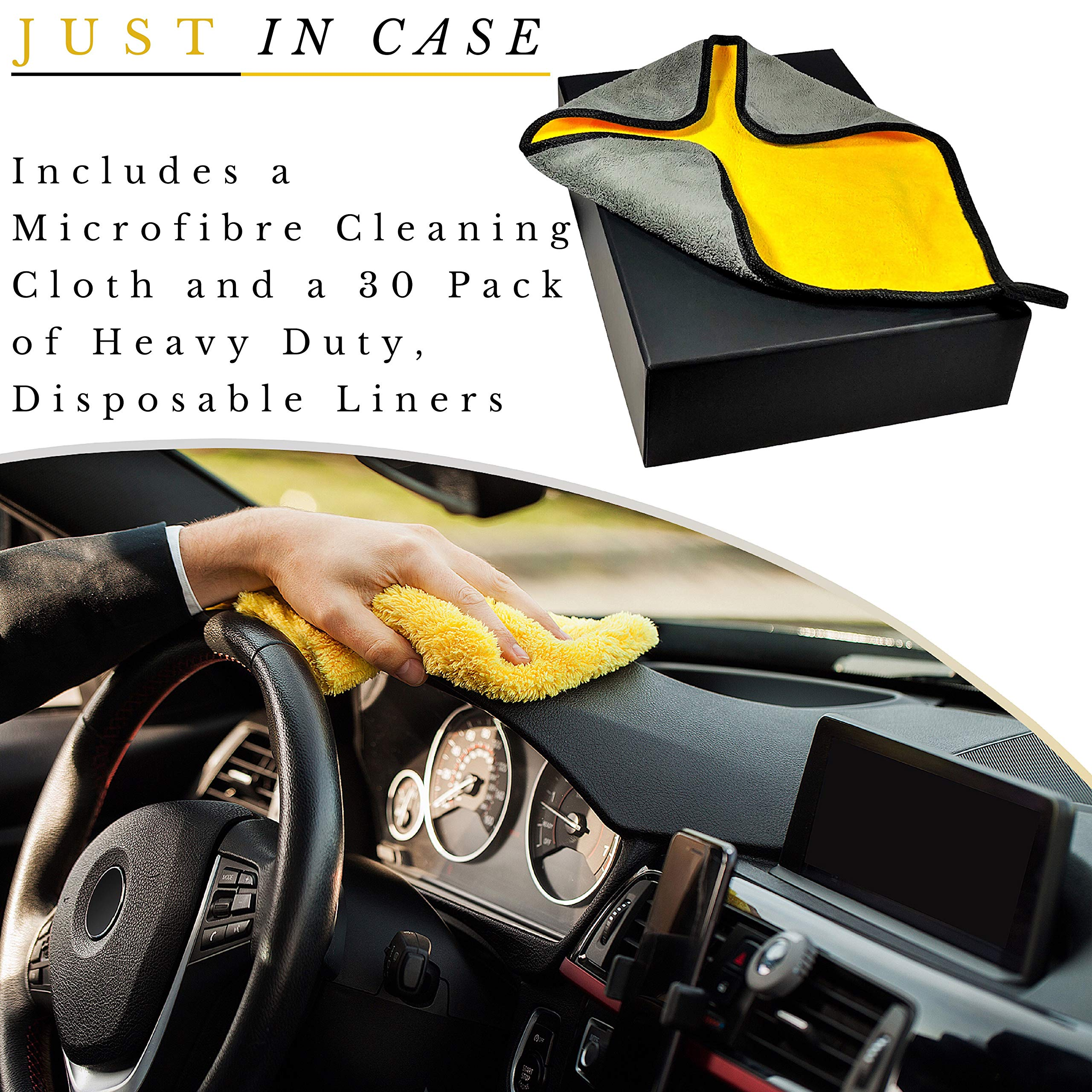 Car Trash Can - The Luxury Edition. No-Smell, Premium Leak Proof Construction & Watertight Liner Won't Cave, Spill, Tip or Contaminate Vehicle Guaranteed | Cleaning Cloth & 30 Disposable Liners by MB Innovations Group (Image #9)
