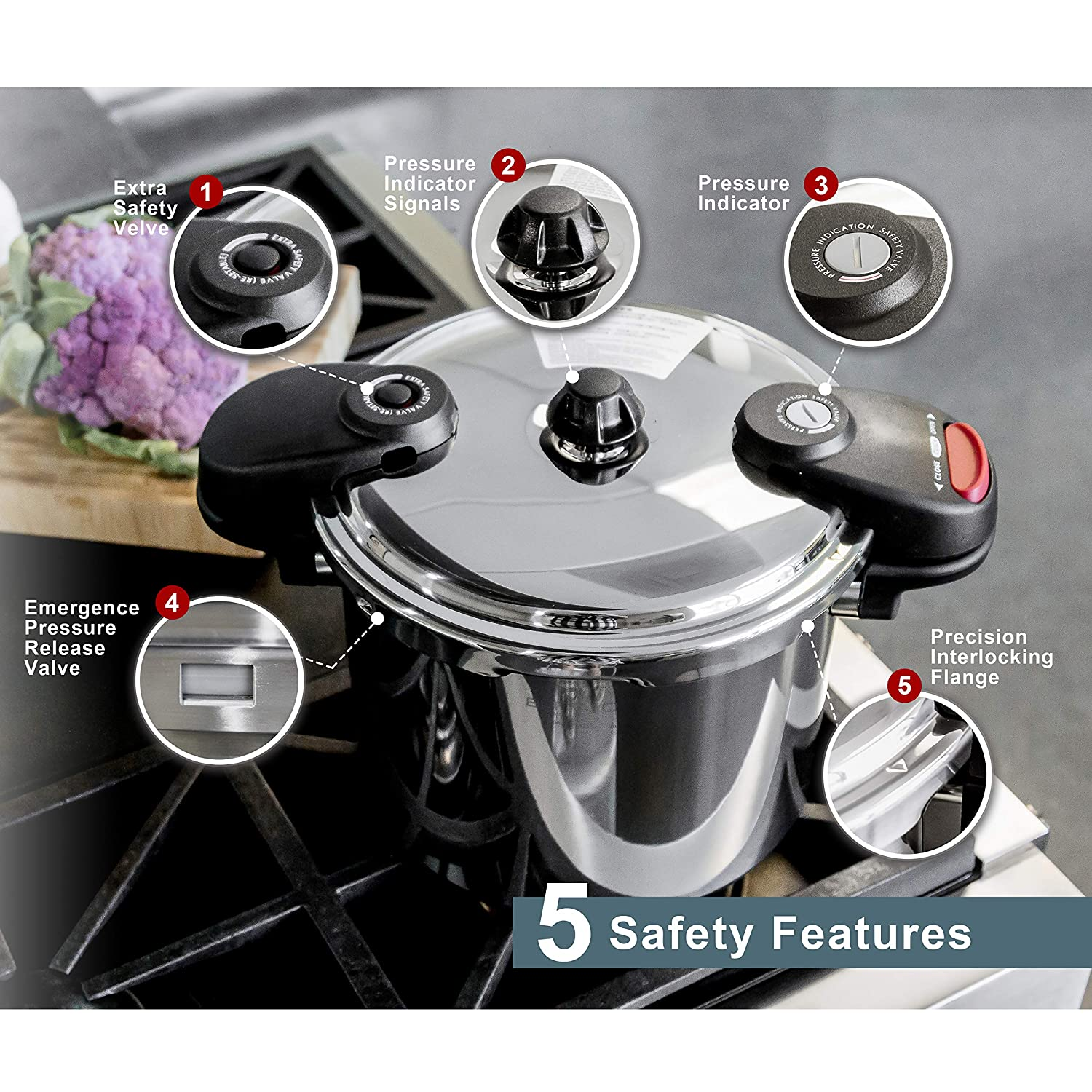 Buffalo QCP408 8-Quart Stainless Steel Pressure Cooker Classic series