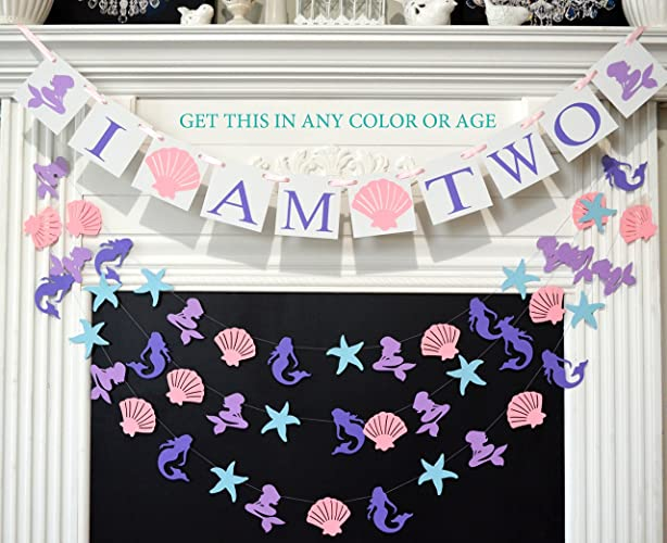 I Am Two Banner And Garland Set 2 Second Birthday Party Mermaid Decoration Decorations