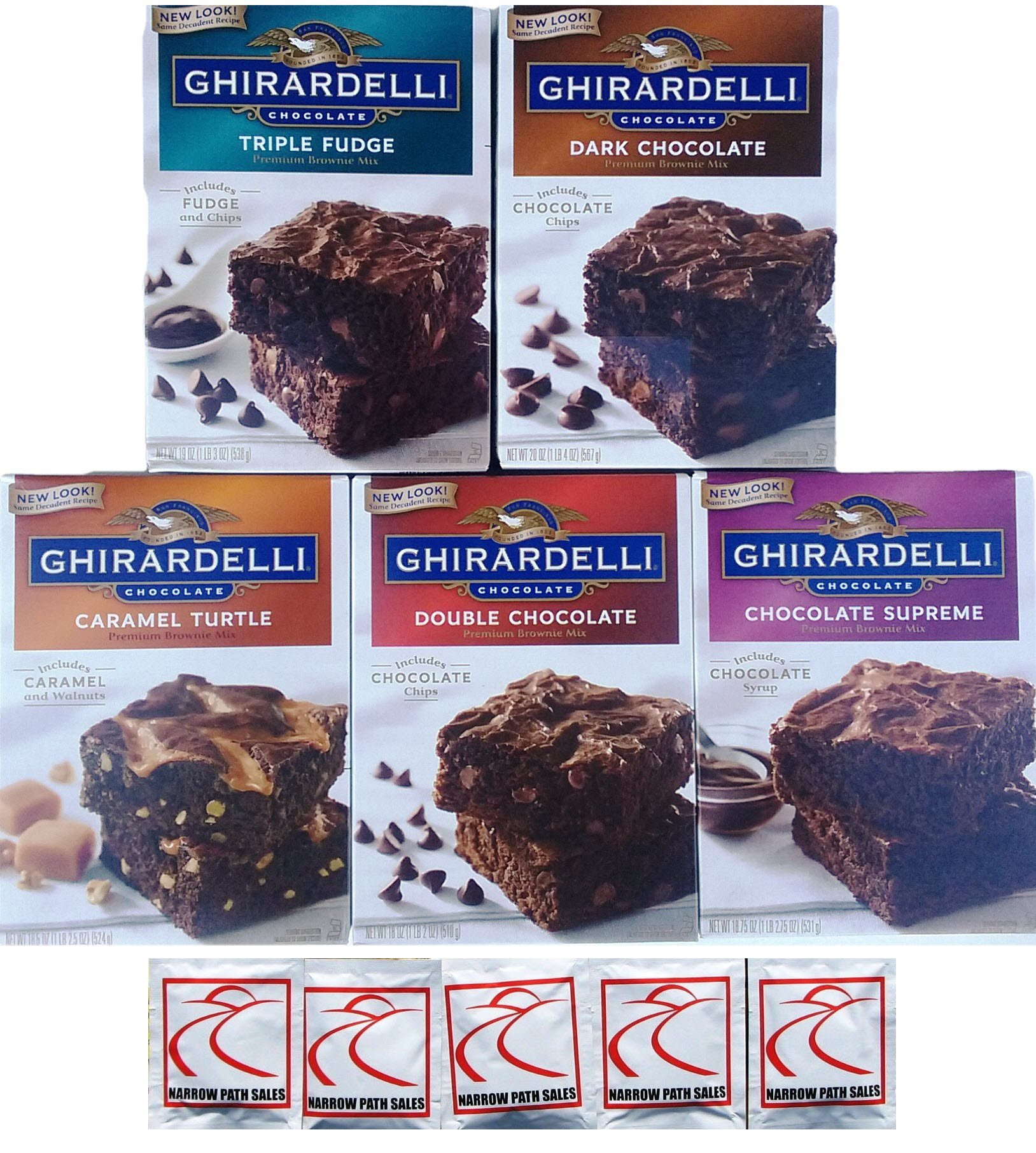 Ghirardelli Premium Chocolate Brownie Mix Variety - Bundle of 5 Flavors - Triple Fudge, Caramel Turtle, Double Chocolate, Chocolate Supreme, Dark Chocolate Gift Box by Narrow Path Sales (Image #5)