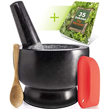 Granite Mortar and Pestle Set - Molcajete - Guacamole Bowl With Polished Exterior, Stylish Dark Grinder And Crusher - WITH Wooden Spoon, Silicone Mat & Scraper, And Dip Recipe Ebook