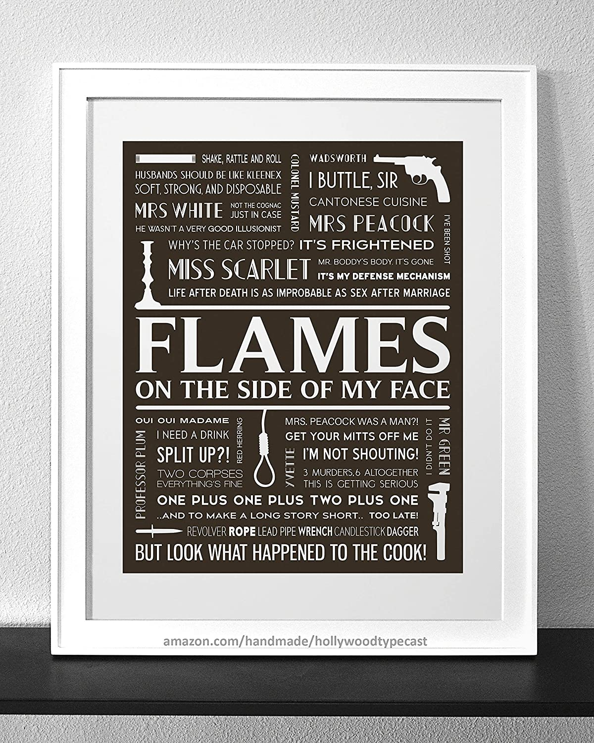 Amazoncom Clue Typography Print Frame Not Included Handmade