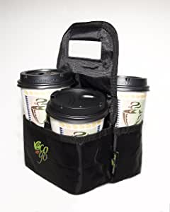 Eco on The Go: Reusable Insulated Travel Coffee and Drink Tote Bag (Black)