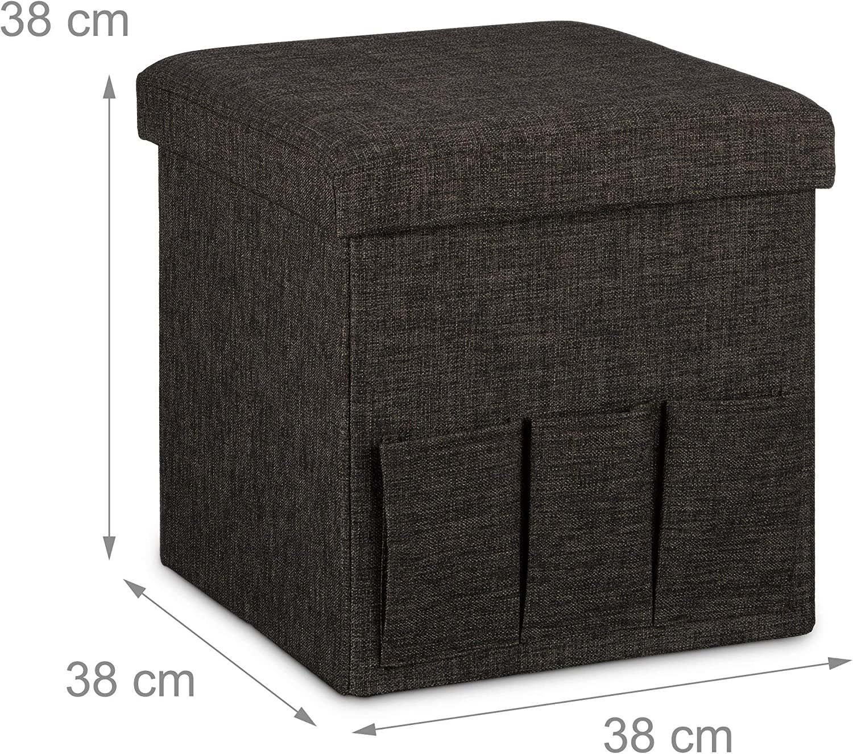 White Relaxdays Folding Ottoman Pouffe 38 x 38 x 38 cm Sturdy Seat with 3 Side Pockets Foldable Footstool Stool Storage Box Linen