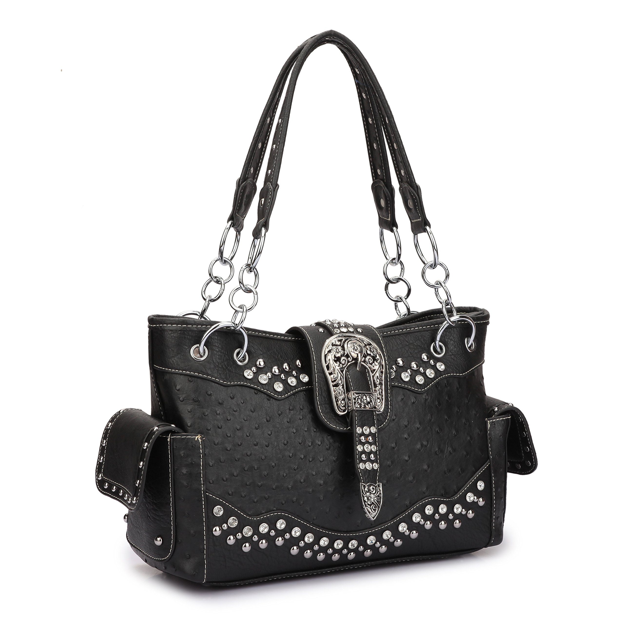 Women Western Handbags Purses Rhinestone Studded Shoulder Bags With Side Pockets (Ostrich style, Black)
