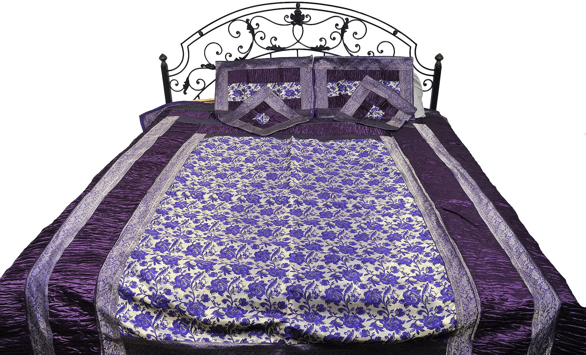 Five-Piece Banarasi Bedspread with Woven Flowers All-Over and Brocaded Border - Art Silk with Pillow - Color Mulberry Purple Color
