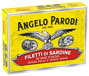 Angelo Parodi Sardines Boneless and Skinless Fillets in Pure Olive Oil | 4 Pack | Imported from Italy | Wild Caught and Hand Selected | Premium All Natural | Gourmet Fillets in 3.70 oz Can (105 Gram)