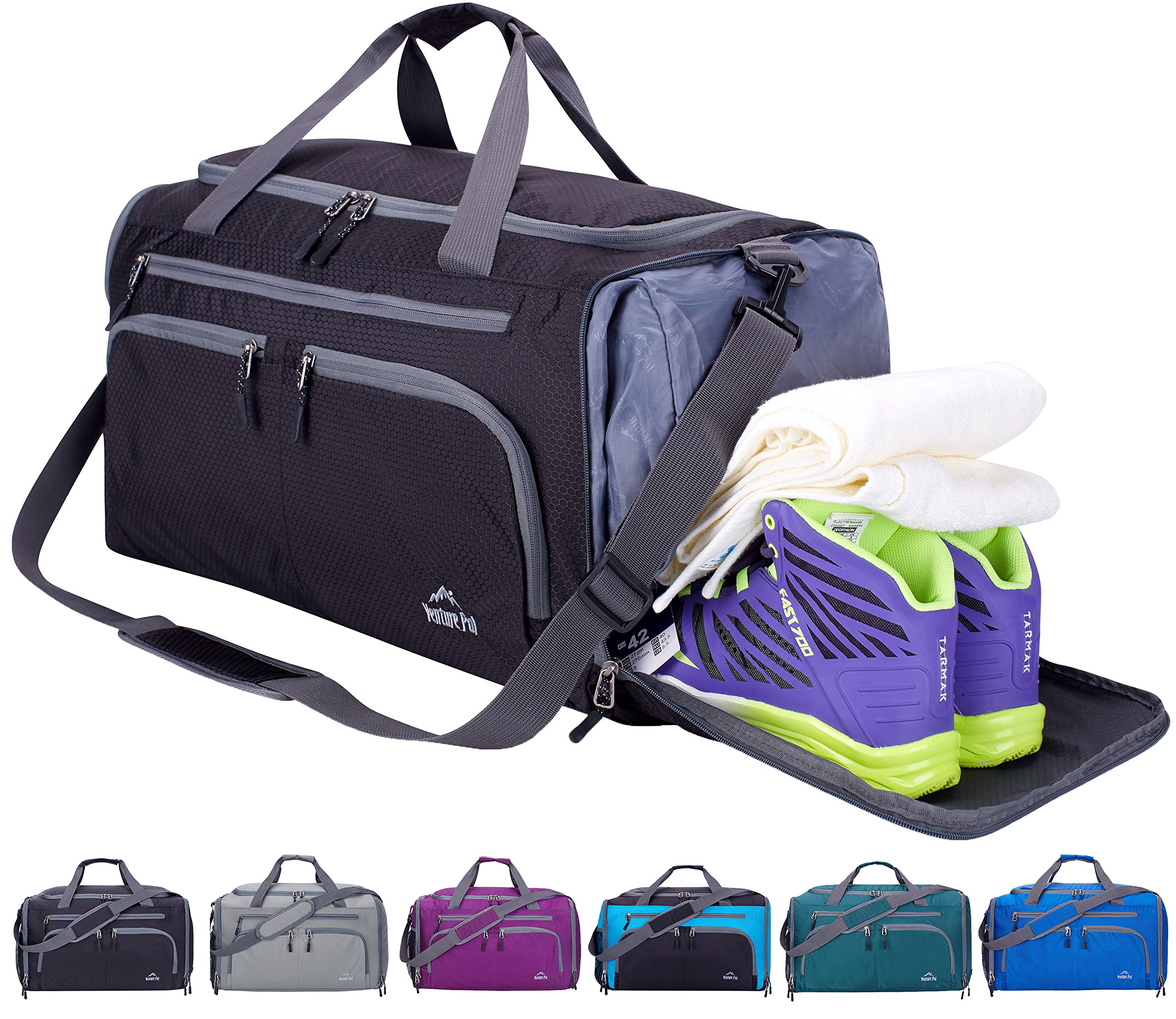 Venture Pal 20'' Packable Sports Gym Bag with Wet Pocket & Shoes Compartment Travel Duffel Bag for Men and Women-Black