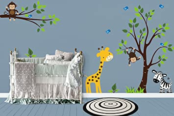 Safari Giraffe Wall Art Decal Jungle Animal Nursery Mural Decor Kids Stickers