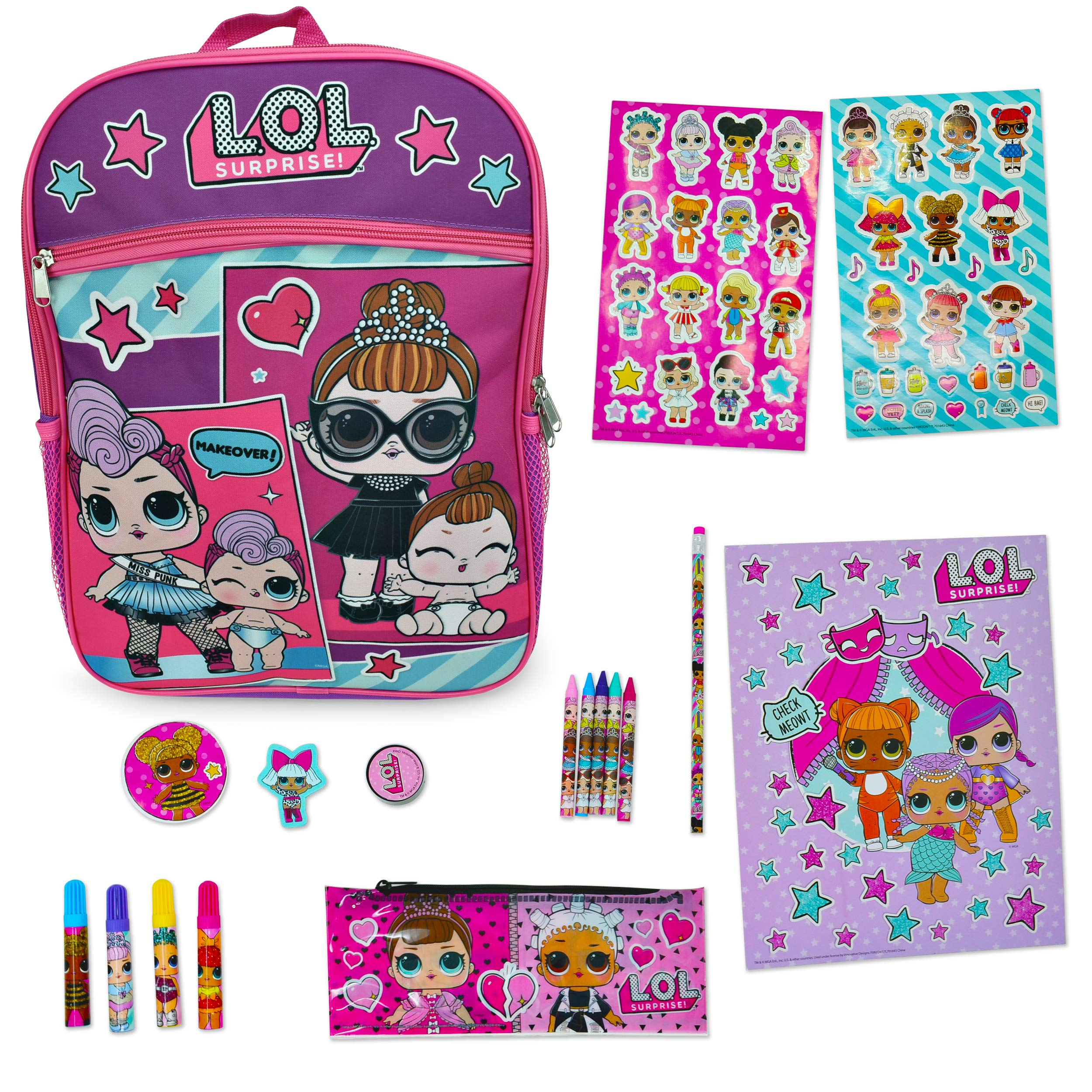LOL Surprise! Backpack Purple 16 and L.O.L School Supplies (Purple)