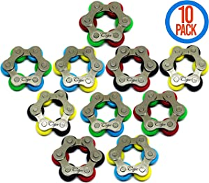 CsyncDirect Roller Chain Fidget Toy - Stress Relief Perfect for ADHD, ADD, Anxiety in Classroom, Office, School, Work for Students, Kids or Adults Stocking Stuffers Gifts for Children Bulk (10 Pack)
