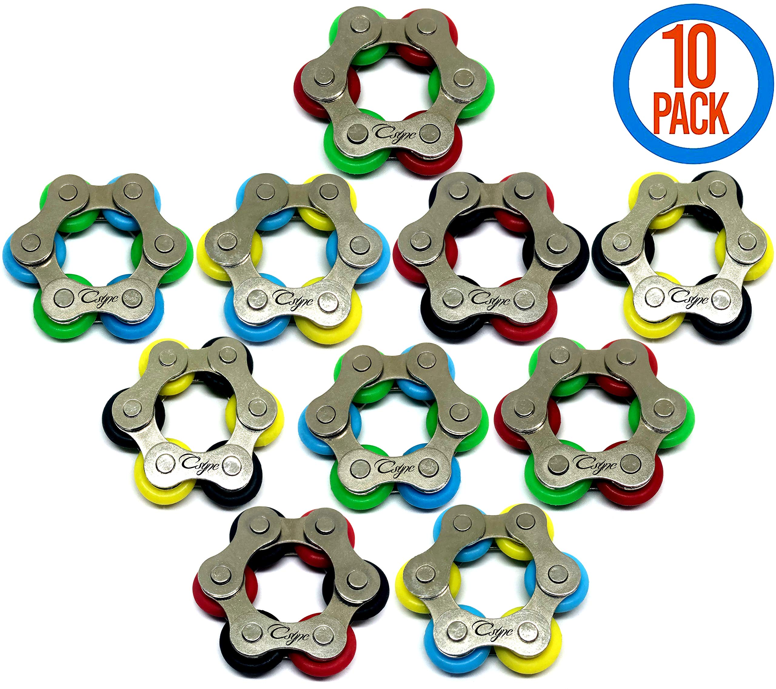 CsyncDirect Roller Chain Fidget Toy - Stress Relief Perfect for ADHD, ADD, Anxiety in Classroom, Office, School, Work for Students, Kids or Adults Stocking Stuffers Gifts for Children Bulk (10 Pack) by CsyncDirect