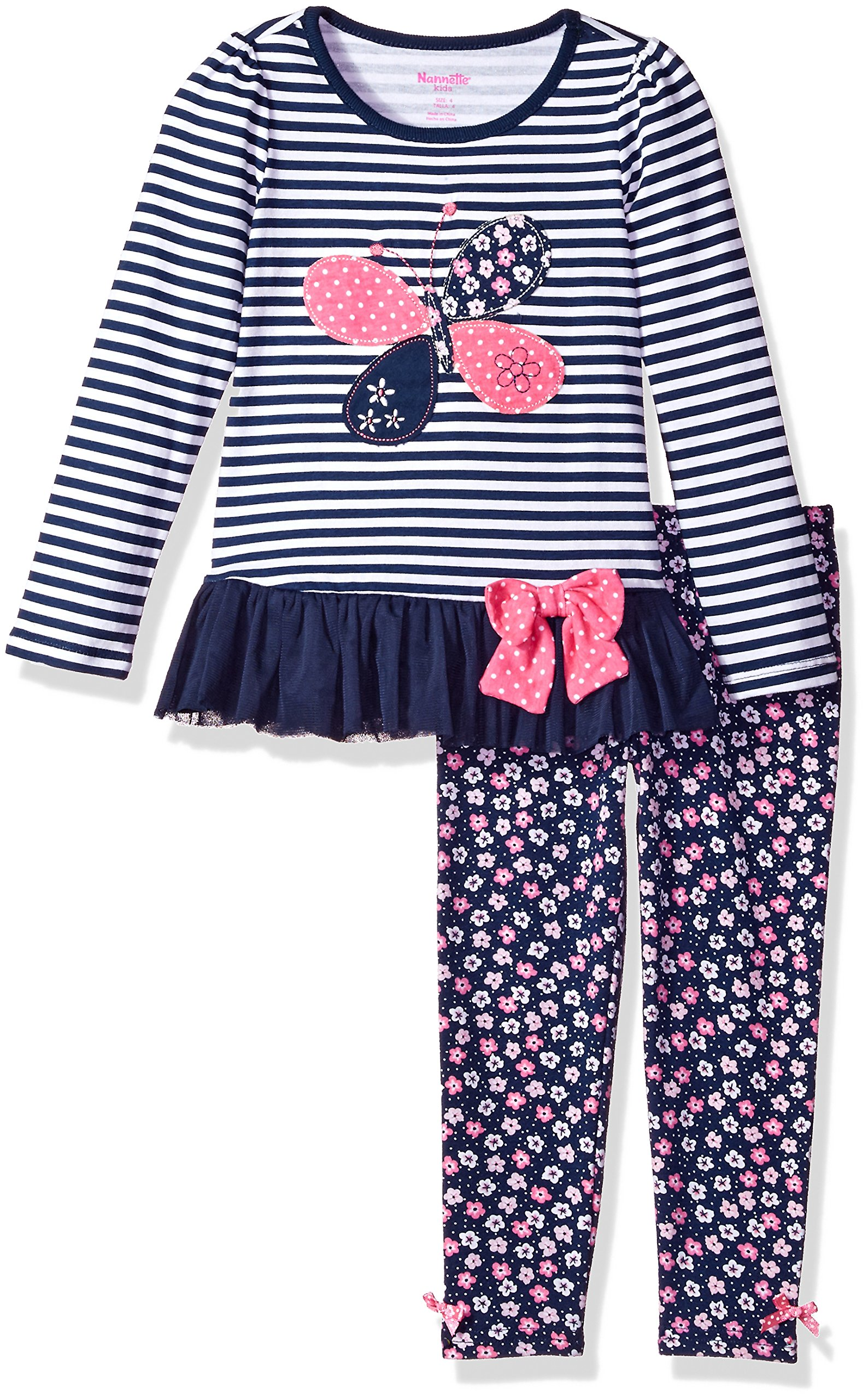 Nannette Little Girls' 2 Piece Playwear Long Sleeve Top and Legging Set, Navy Blue, 6