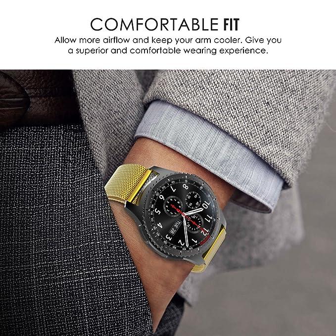 Samsung Gear S3 Frontier /Classic Correa, Correa De Reloj De 22mm, einBand Cierre de cierre totalmente magnético Bucle de malla Milanese acero ...