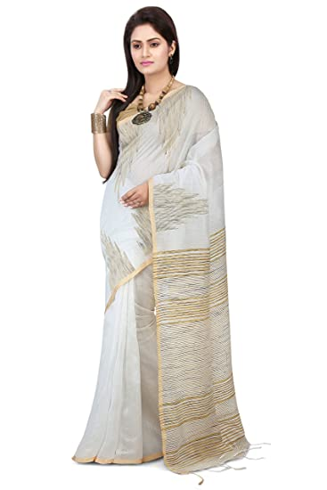 10a5946742836a Wooden Tant Women s Silk Cotton Saree With Blouse Piece (Wtg04 White)   Amazon.in  Clothing   Accessories