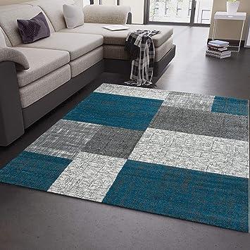 Wohnzimmer Teppich Kurzflor Turkis Grau Weiss Modern Kariert Kachel