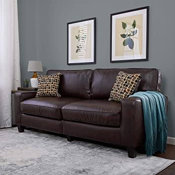 Groovy Serta Rta Palisades Collection 78 Bonded Leather Sofa In Chestnut Brown Download Free Architecture Designs Scobabritishbridgeorg