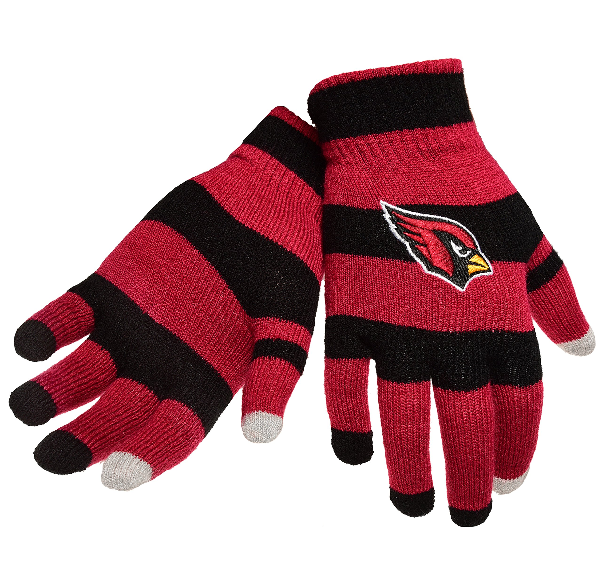 Official NFL Football Licensed Knit Stripe Glove with Texting Tips, One Size, ARIZONA CARDNIALS
