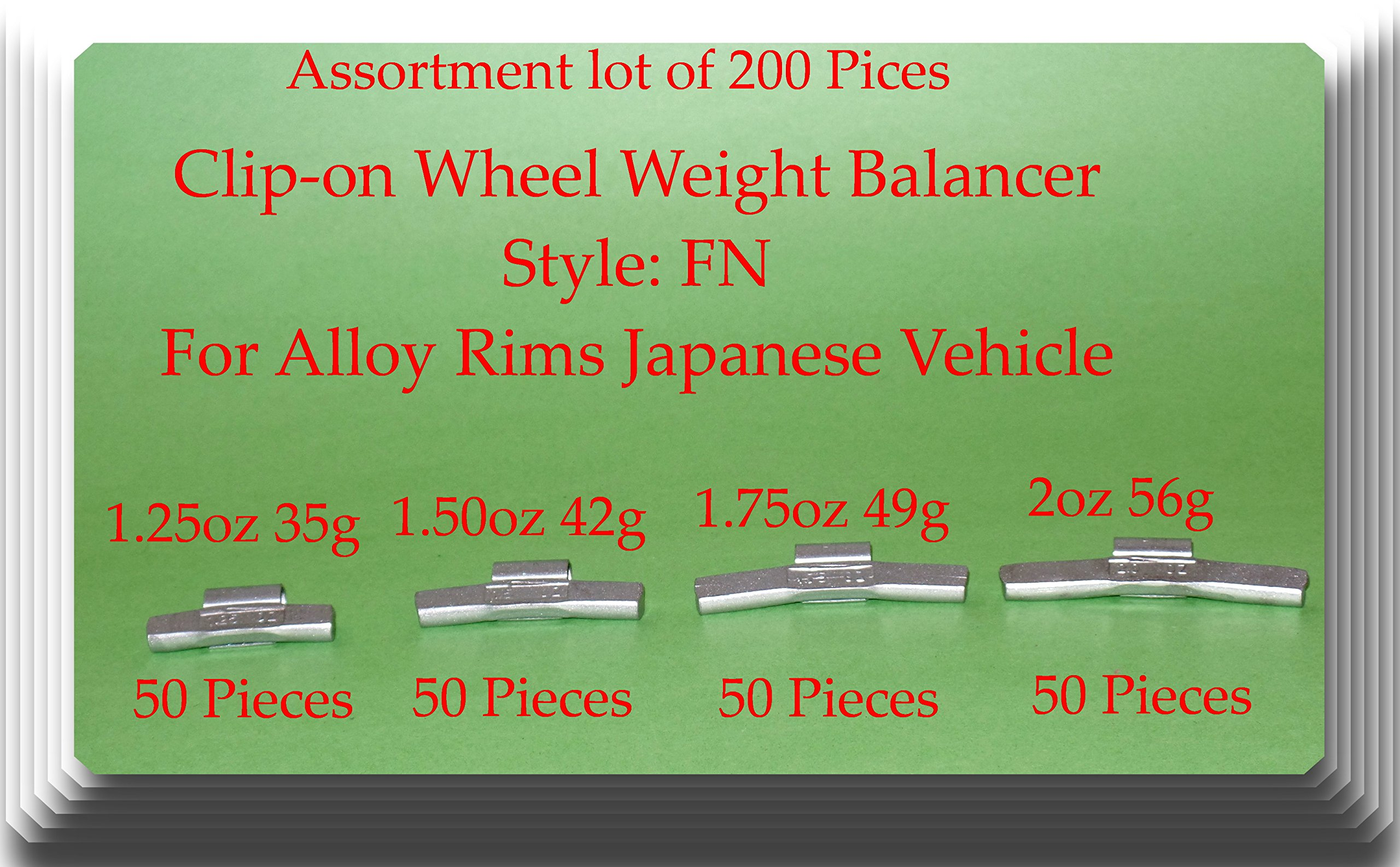 VPro (200 assorted Pieces) Wheel Weight Balancer(50 x 1.25) (50 x oz 1.50 oz) (50 x 1.75 oz)(50 x 2 oz) Style FN for Alloy Rims of Japanese Vehicles