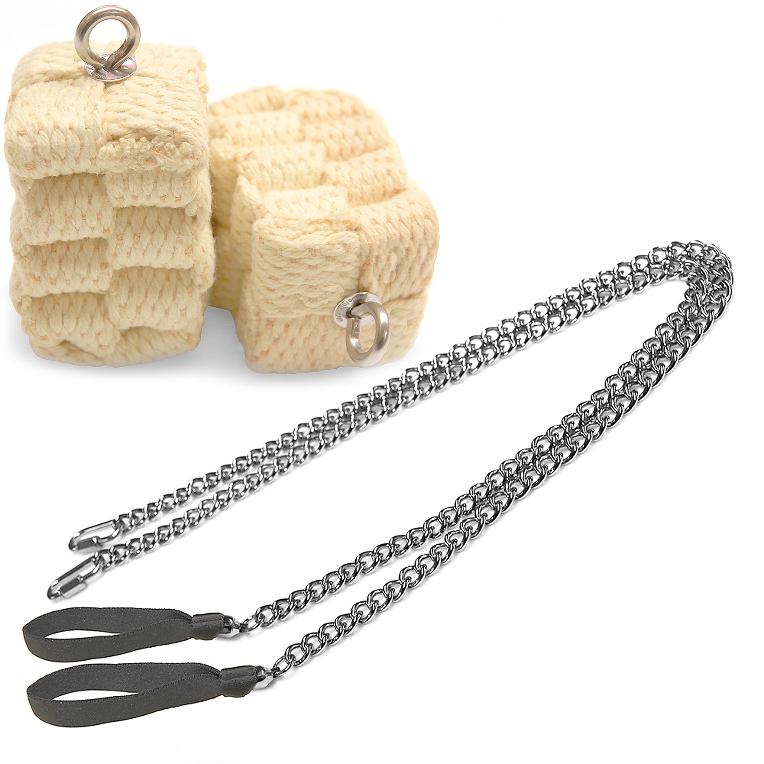 Pair of Pro Chain Block Fire Poi Large - Silver Chain, M - 26 inch (66cm)