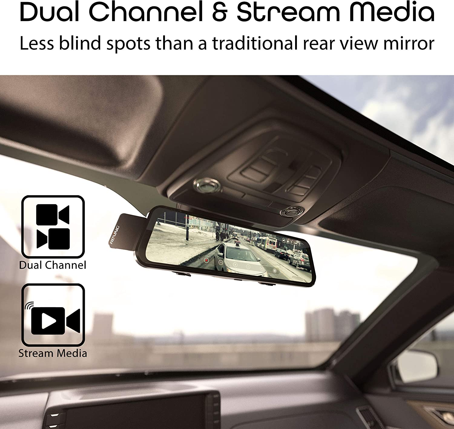 """G-Sensor Rexing M1 HD Dual Channel Rear View 10/"""" IPS Touch Screen Mirror Dash Cam 1296p Backup Camera 720p Wide Angle Dashboard Streaming Media Recorder DVR with Rear Camera Loop Recording"""