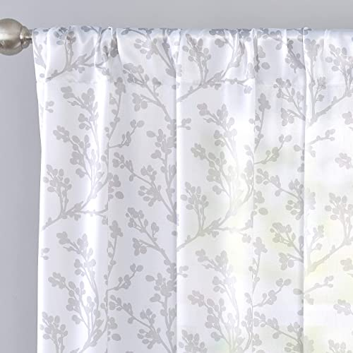DriftAway Sarah Floral Tree Branch Pattern Semi Sheer Window Treatment Curtain for Bedroom Living Room Rod Pocket 2 Panels 52 Inch by 84 Inch Gray